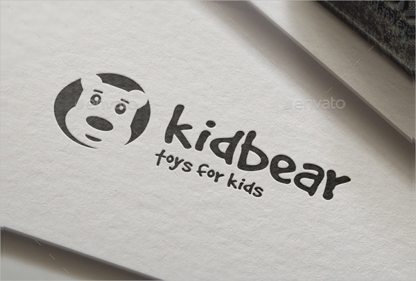 Funny Kid Bear Logo Template