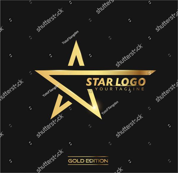 Gold Star Vector Logo in Elegant Style