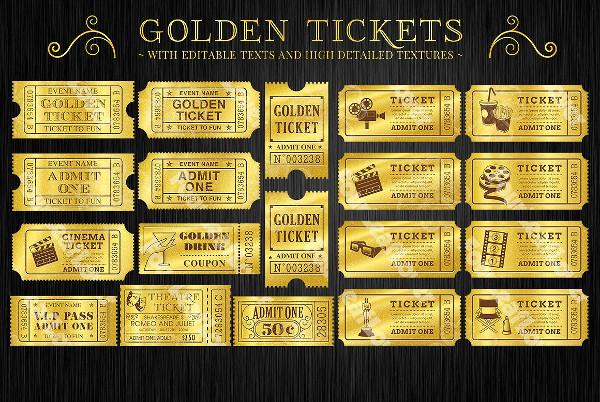 Golden Raffle Tickets Templates Set