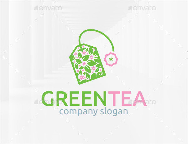 Green Tea Bag Logo Template