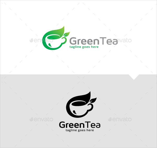 Green Tea Lounge Logo Template