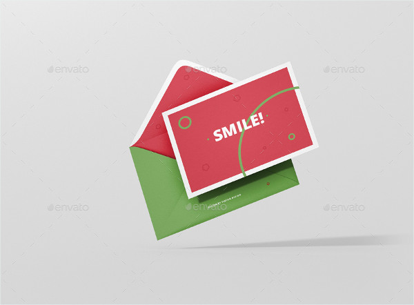 Landscape Greeting Card Mockup with Envelope
