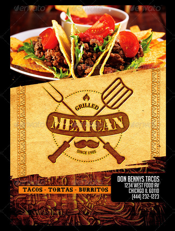 Grilled Mexican Restaurant Menu Template