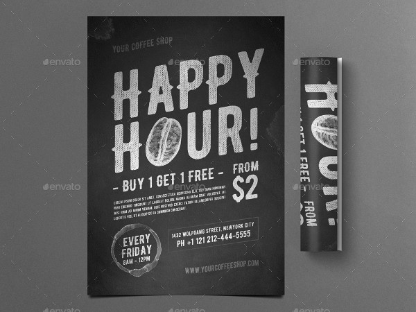 Happy Hour Coffee Flyer or Poster Template