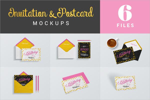 Invitation & Postcard Mockups Design