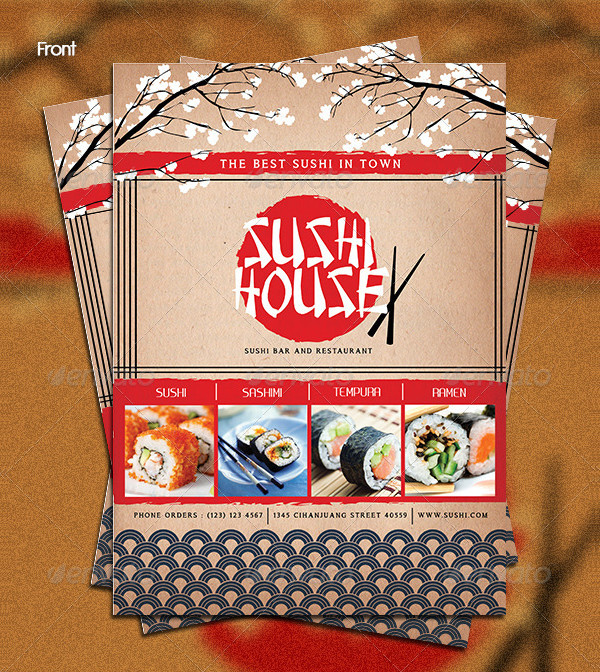 Best Sushi House Menu Template
