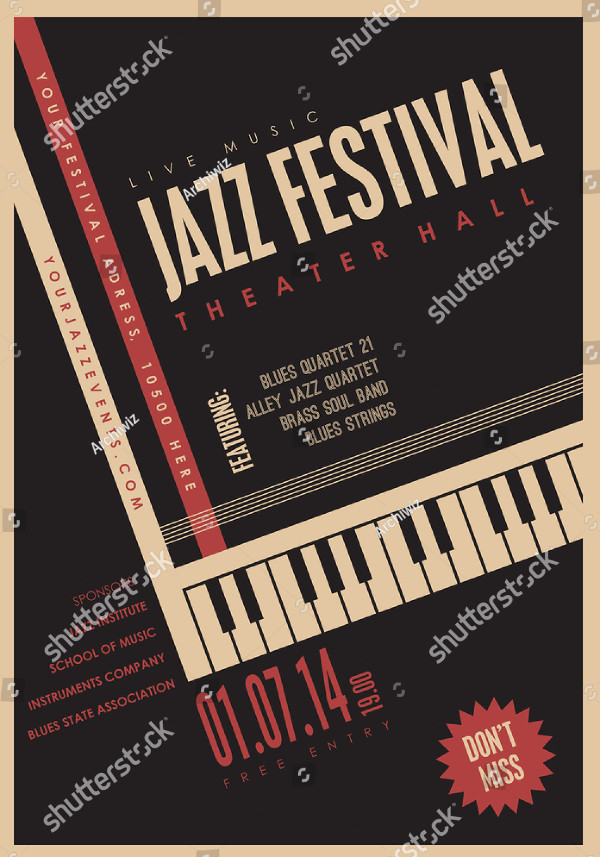 Jazz Music Poster Background Template