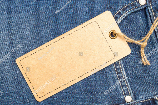 Label Price Tag Mockup on Blue Jeans