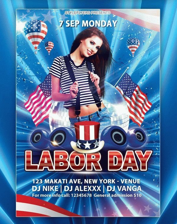 Labor Day Club Party Flyer Free