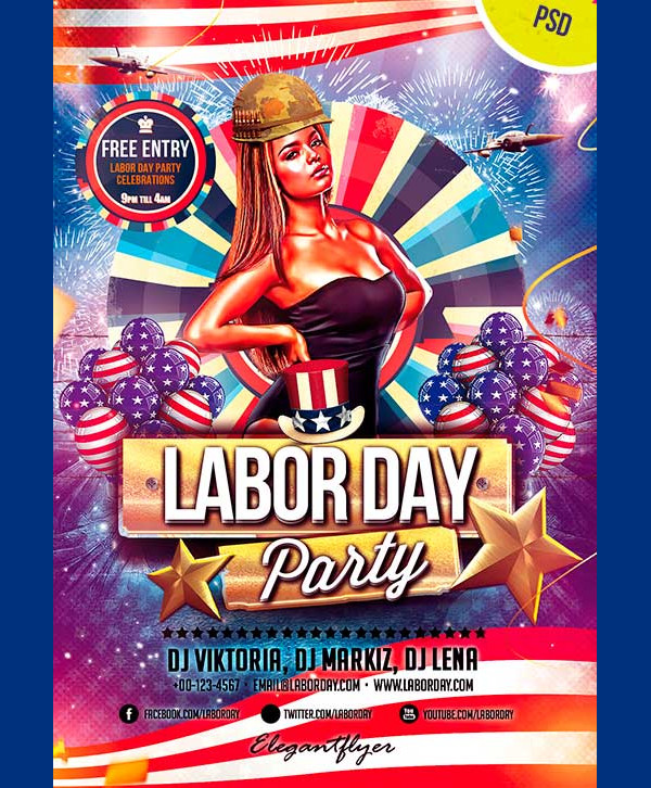 Labor Day Free Flyer PSD Template