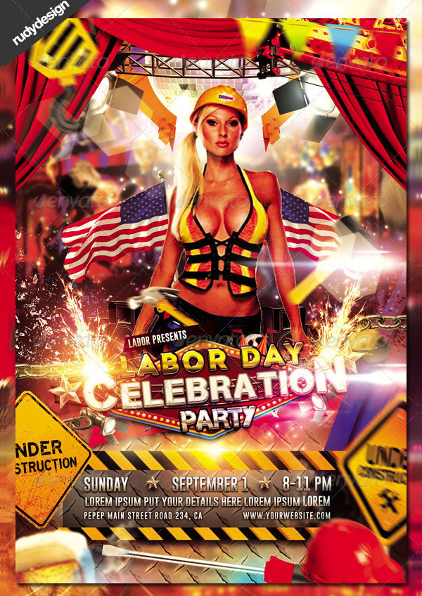 Labor Day-Memorial Day Party Flyer Design