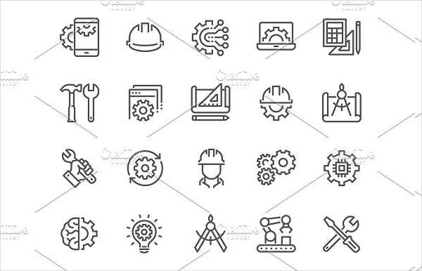 Line Engineering Technology Icons