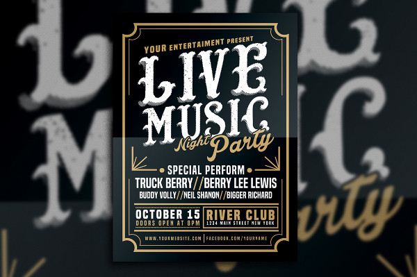 Live Music Typography Poster Template