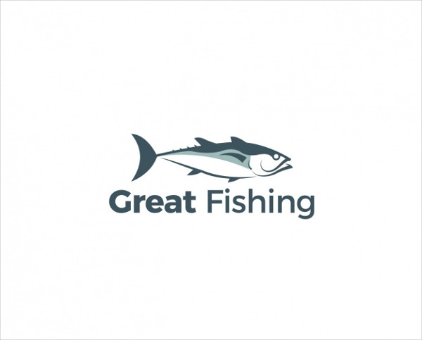 Logo with Fish on White Background Free