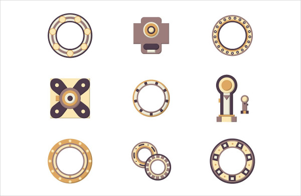 Mechanical Engineer Bearing Flat Icons