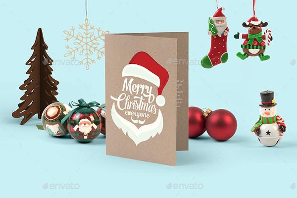 Merry Christmas Greeting Cards Mockup