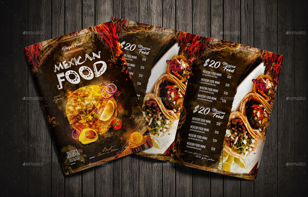 Print Ready Mexican Food Menu Template