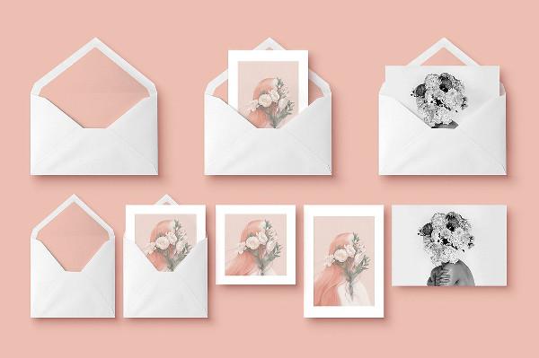 Mockup of Greeting Cards & Envelope