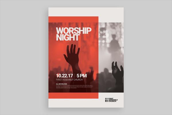 Modern Worship Night Poster Template