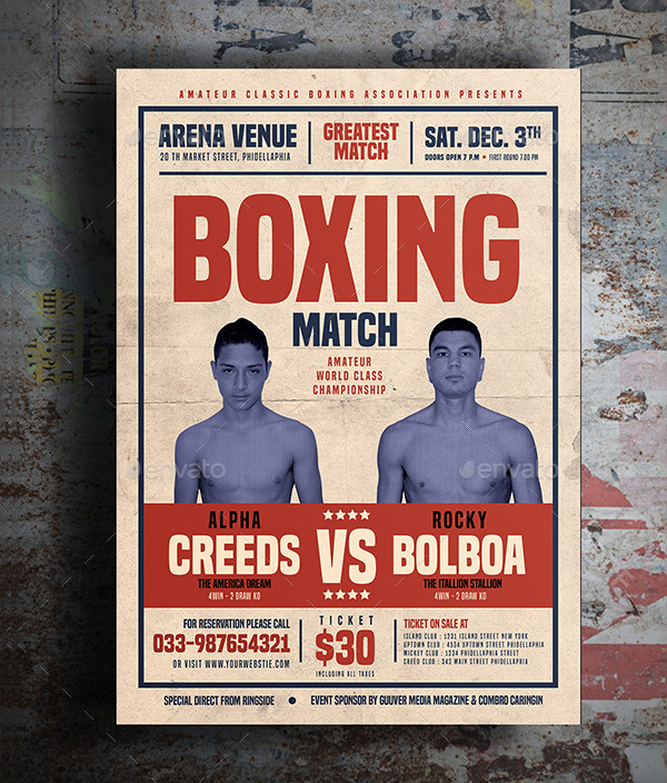 Old Vintage Boxing Flyer Template