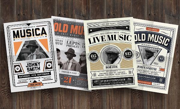 Old Vintage Music Flyers Bundle