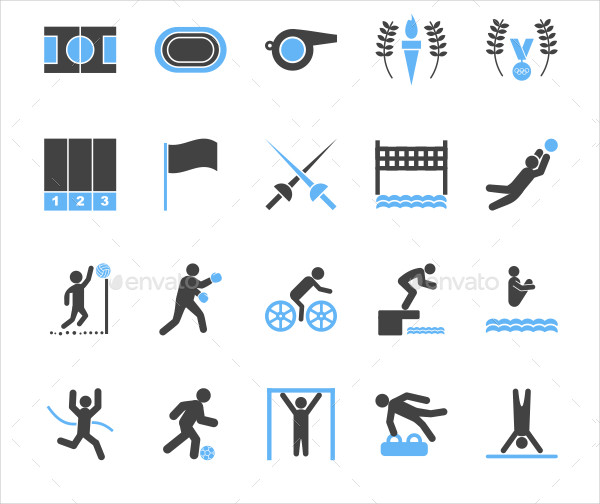 Olympics Blue & Black Icons