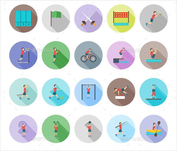Olympics Flat Shadowed Icons