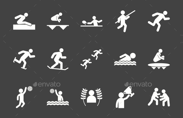 Olympics Glyph Inverted Icons