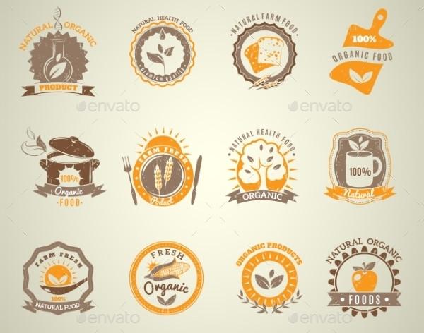 Organic Food Vintage Style Labels Set
