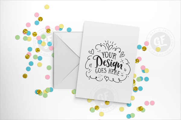 Pastel Confetti Greeting Card Mockup with Smart Objects PSD