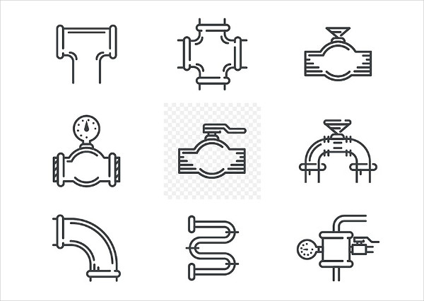 Pipeline Black Line Vector Icons