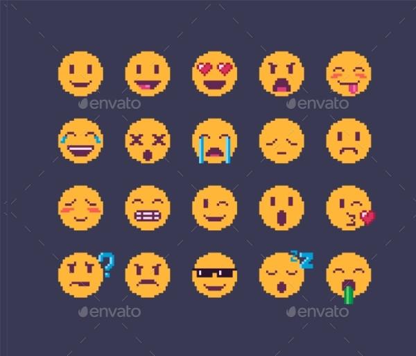 Pixel Art Emoji Icon Set