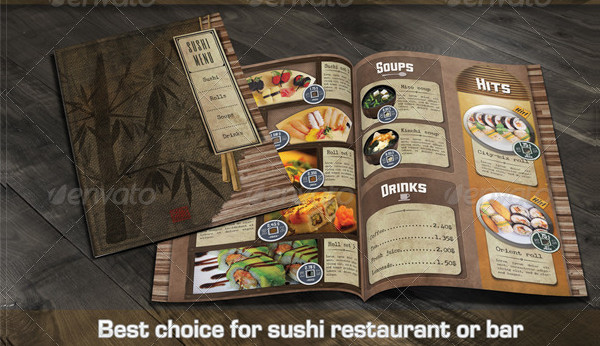 Popular Sushi Restaurant Menu Template