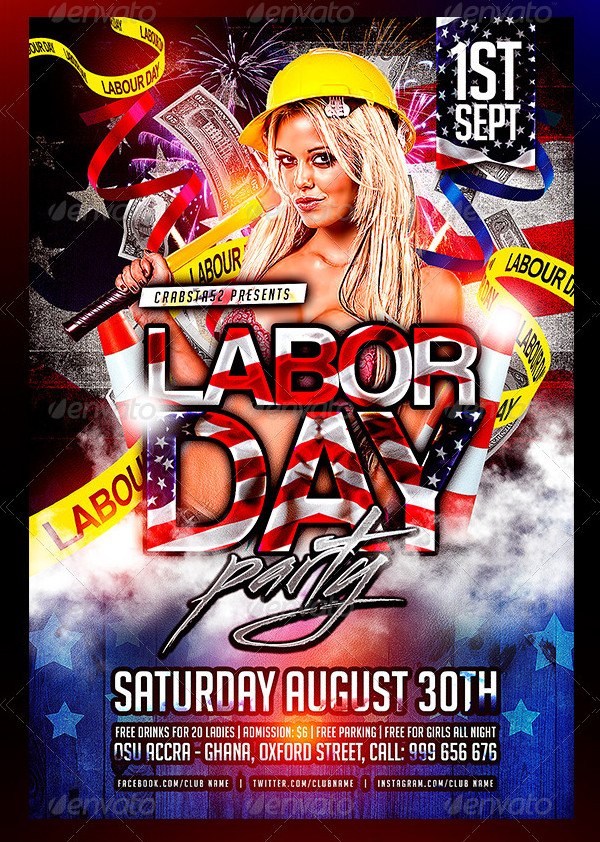 Print Ready Labor Day Party Event Flyer Template
