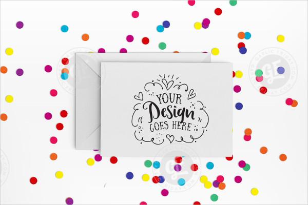 Rainbow Confetti Greeting Card Mock-up