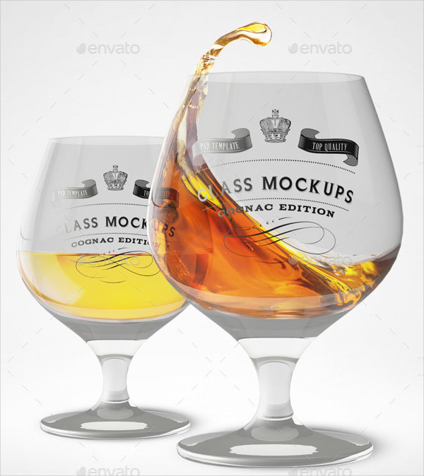 Realistic Cognac Glass Mock-Up