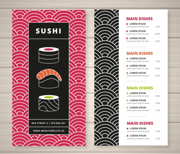 Restaurant Menu Template in Flat Style Free