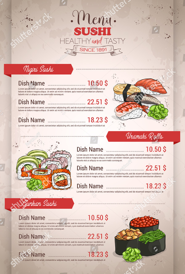 Restaurant Vertical Color Sushi Menu Design