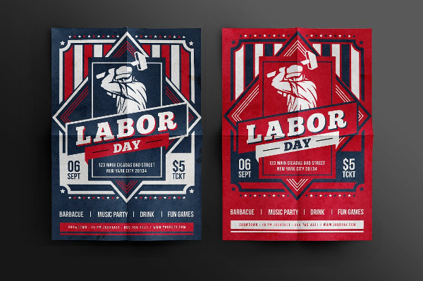 Retro Labor Day Celebration Flyer Design