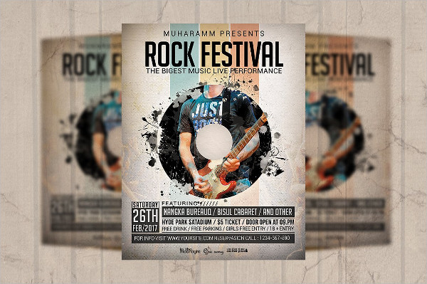Rock Festival Flyer or Poster Template