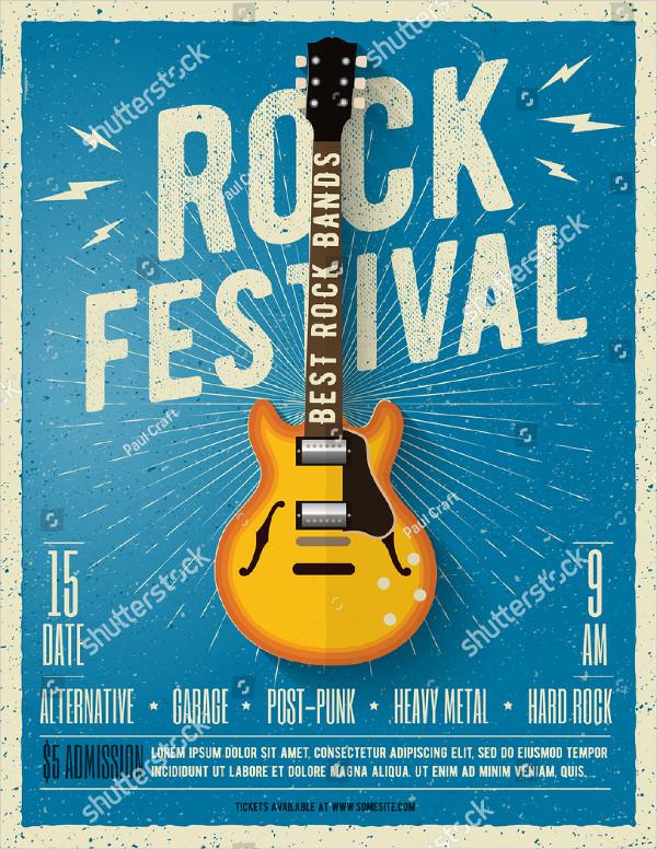Rock Music Festival Flyer Vector Illustration