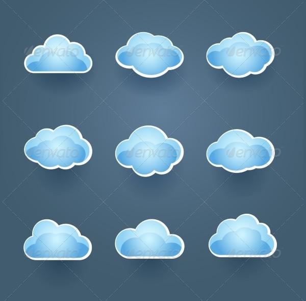 Set of Blue Cloud Icons