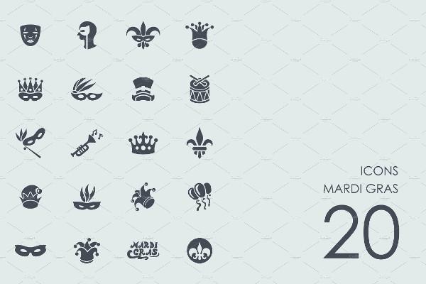 Set of Simple Mardi Gras Icons