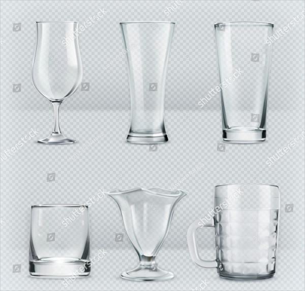 Set of Transparent Glasses Mockup