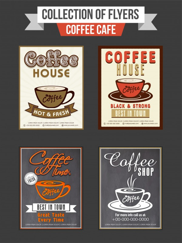 Set of Four Coffee Shop Flyers Free Vector
