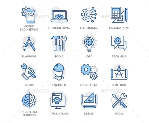 Simple Set of Engineering Related Color Vector Line Icons