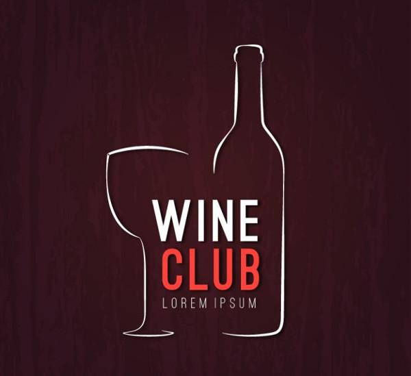 Sketchy Wine Club Logo Free Vector