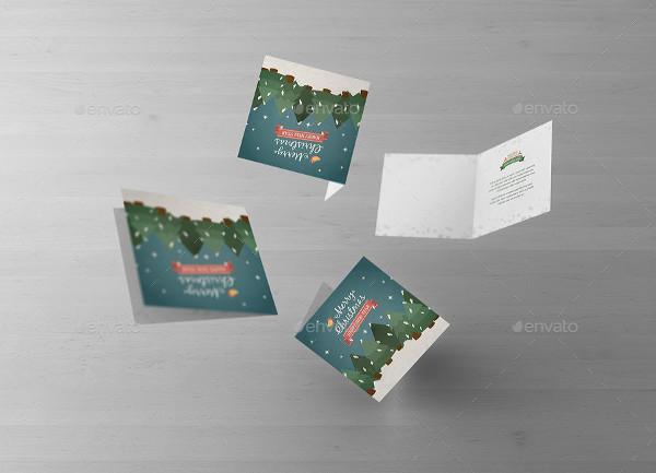 Square Greeting Card Mockup Presentation