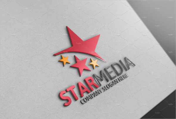 Stylish Star Media Logo Design