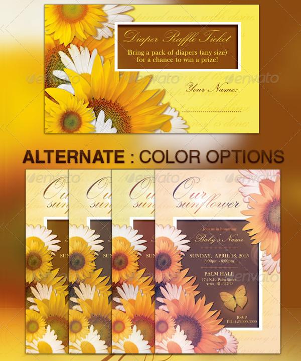 Sunflower Baby Shower Raffle Ticket